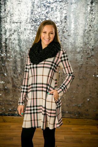 Glitter Elbow Plaid Dress