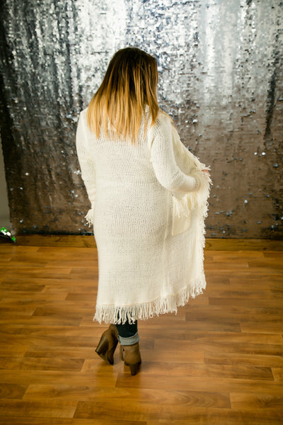 Maxi Long Sleeve Cardigan With Fringe Frill Detail