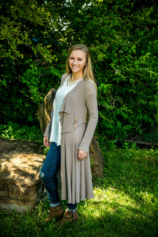 Buttoned Waist Open Front Cardigan