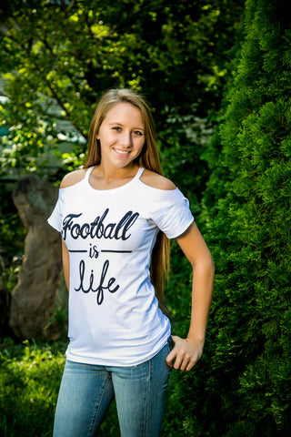 Football Is Life Cold Shoulder Tee