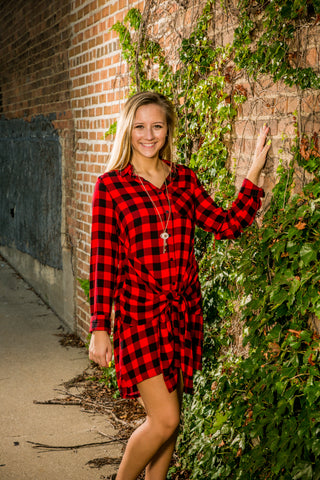 Checkered Plaid Shirt Dress with Front Tie
