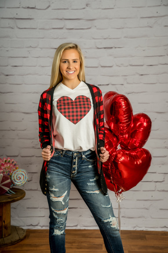 Buffalo Plaid Heart Graphic Tee