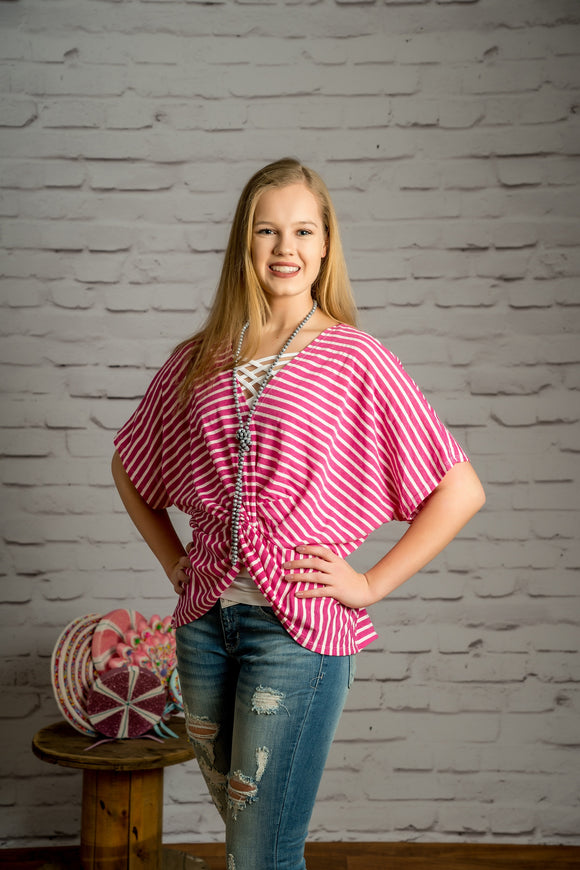 The Fuchsia Is Bright Striped Dolman Top