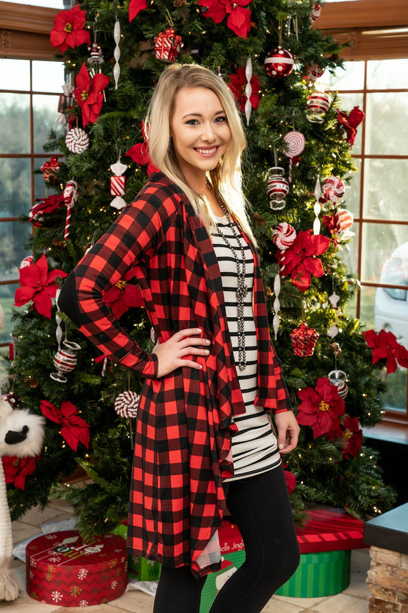 Mad For Buffalo Plaid Open Front Cardigan