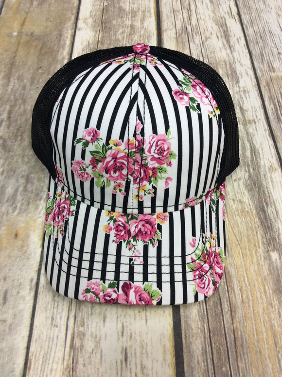 Stripe and Floral Patterned Mesh Hat