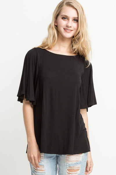 Side Slit Wide Sleeve Top