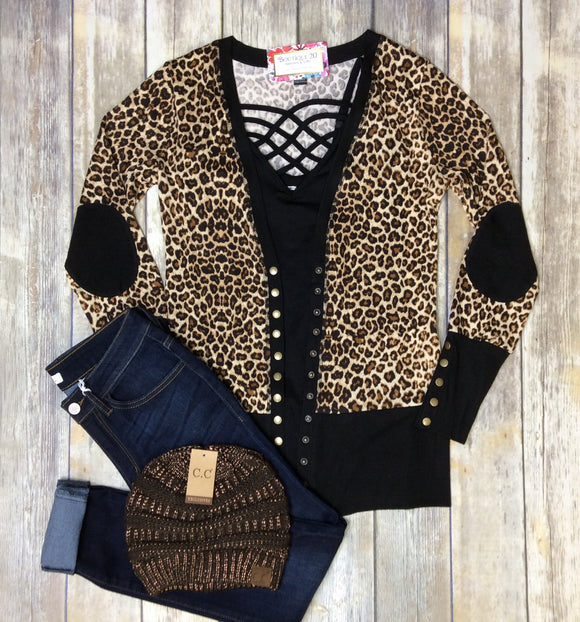Gotta Have It Snap Cardigan - Leopard
