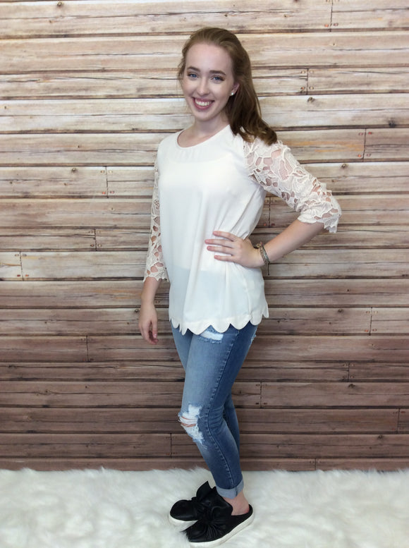Long Lace Sleeve Round Neck Top with Scallop Hem Detail - FINAL SALE CLEARANCE