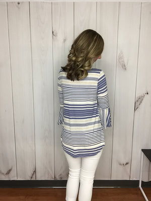 Pamper Me Striped Bell Sleeve Top