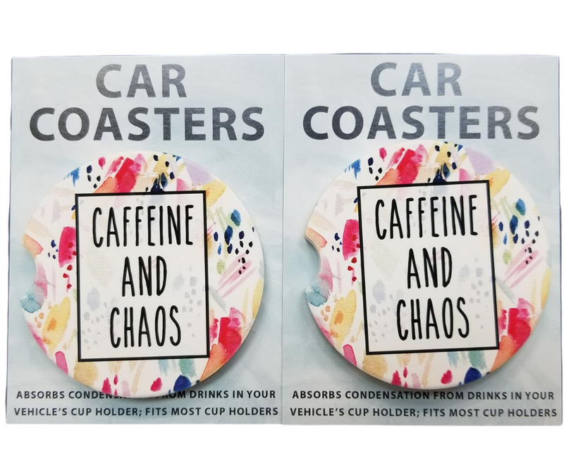 Caffeine & Chaos Car Coasters
