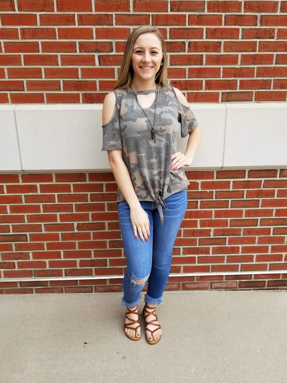 Olive You Camo Cold Shoulder Top
