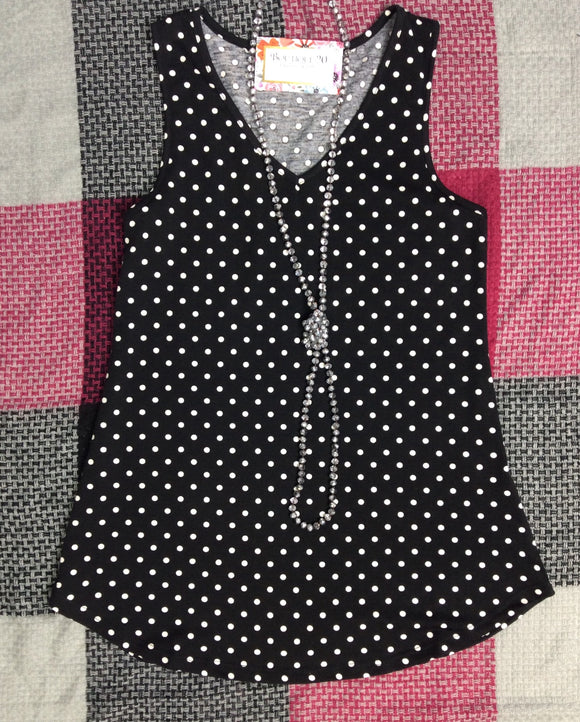 Your Favorite Tank - Black Polka Dot