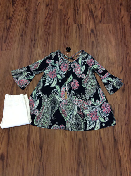Paisley Floral Mixed Print Criss Cross Front & Back Tunic