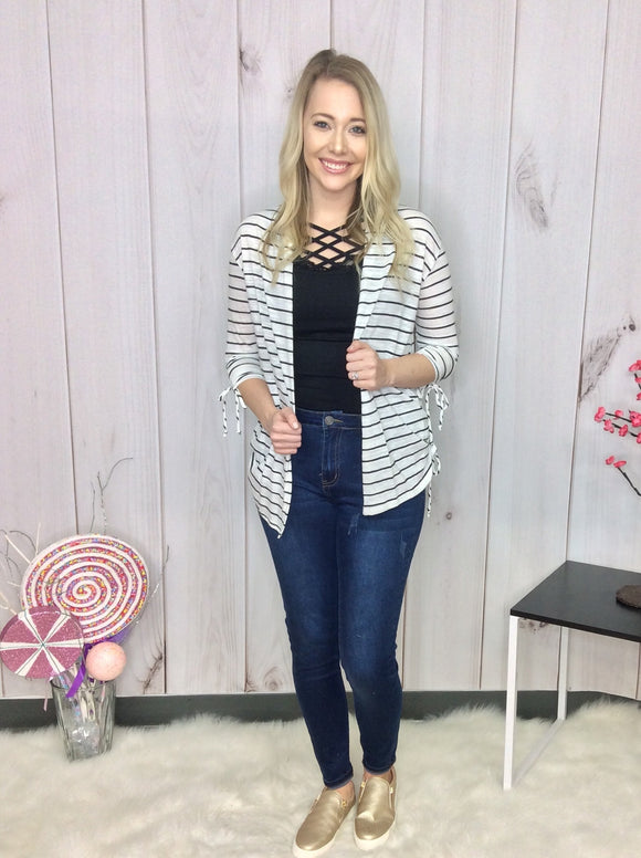 Carry On Striped Cardigan