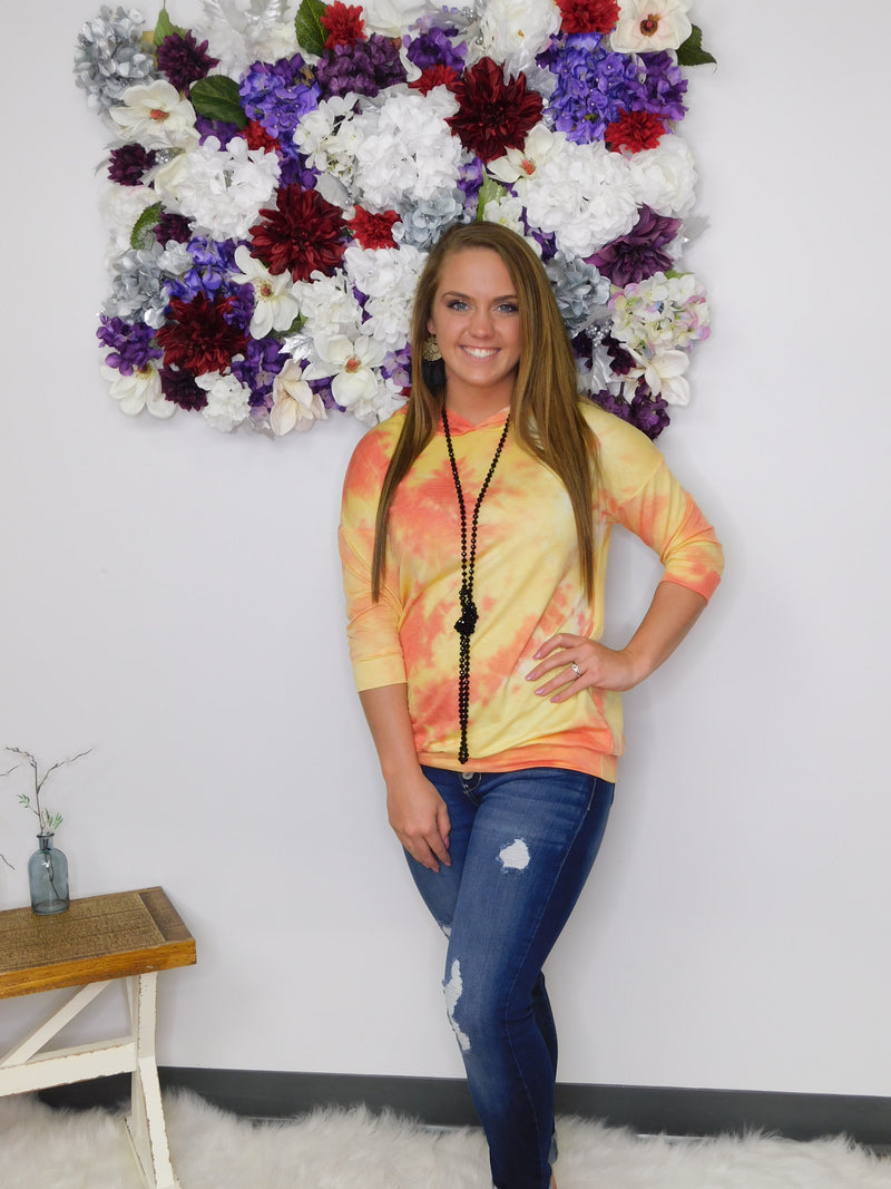 Sunshine State Of Mind Tie Dye Hooded Top