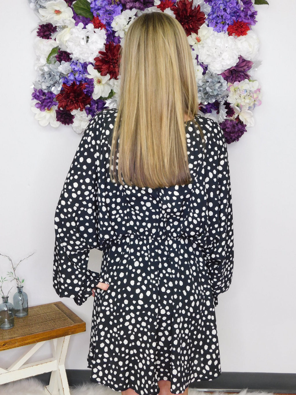 Believe In Yourself Polka Dot Puff Sleeve Dress