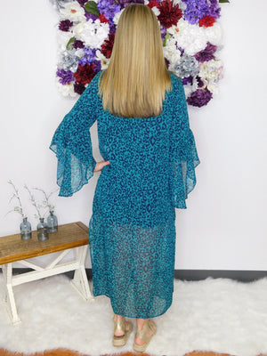 Wild For You Sheer Animal Print Bell Sleeve Open Front Long Kimono