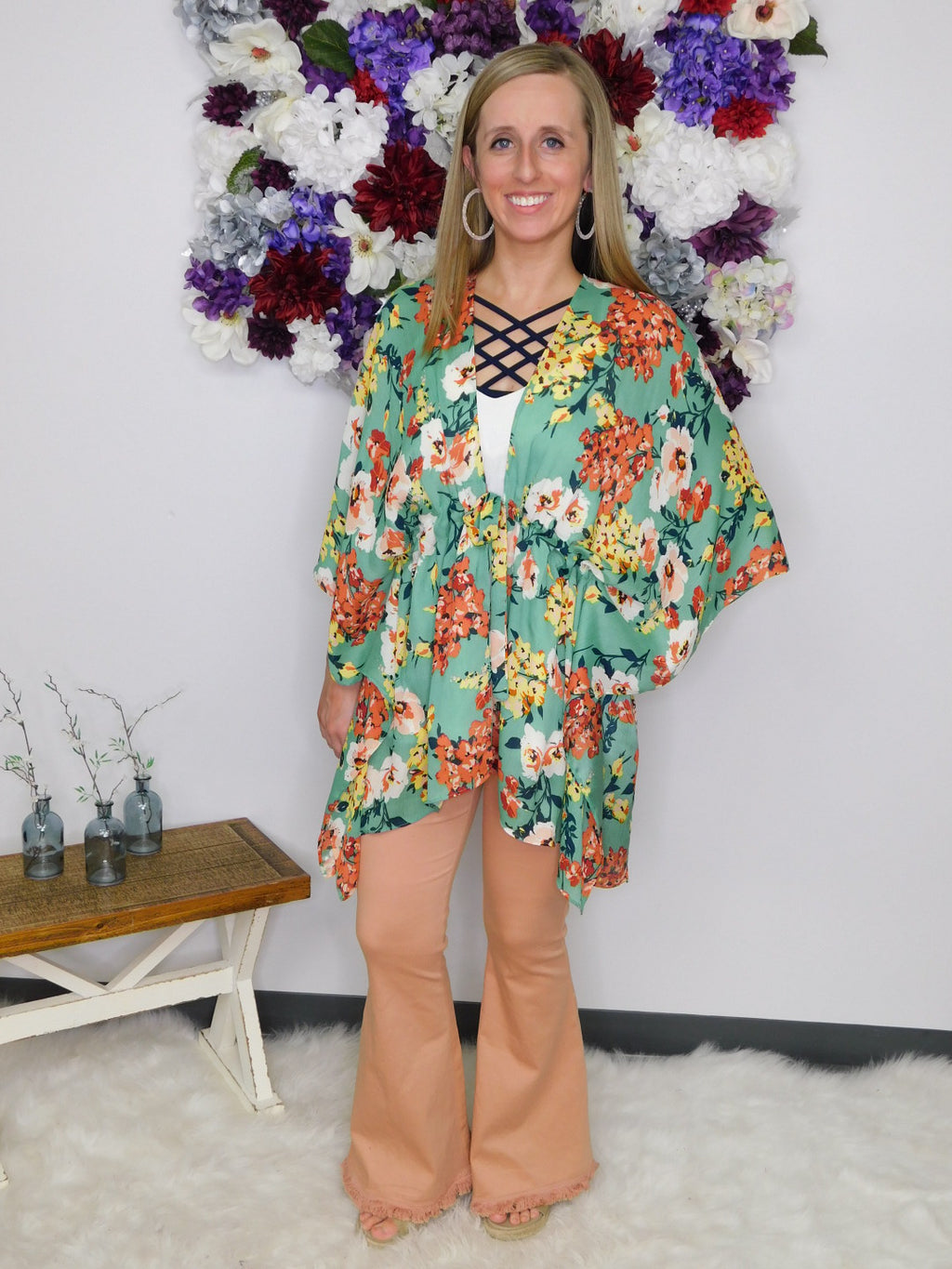 Show Me The Floral Open Front Kimono with Waist Tie