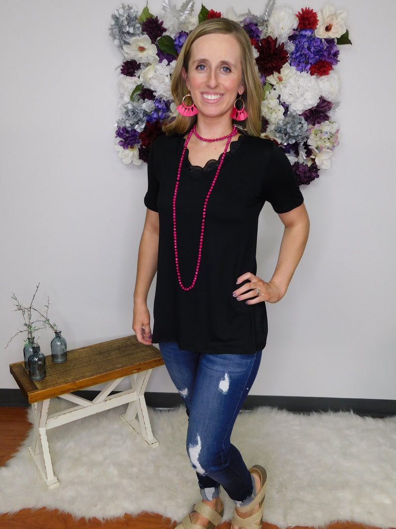 Just My Style Solid V-Neck Lace Neckline Top