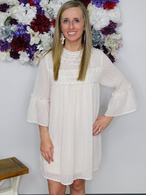 Loving My Life Sheer Polka Dot Bell Ruffle Sleeve High Neck Dress