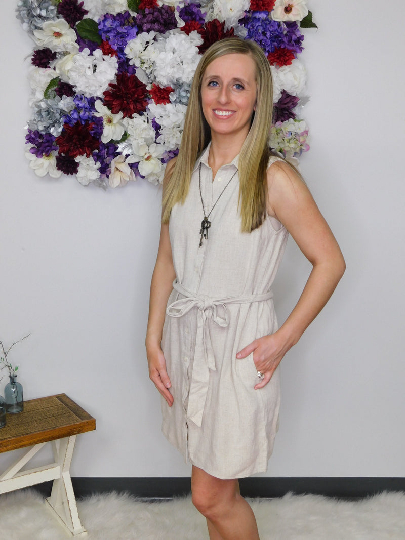 Be Yourself Sleeveless Button Up Collared Dress with Pockets