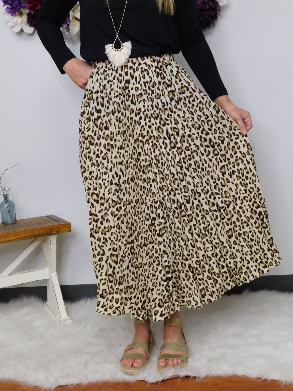 Take Me Away Animal Print High Waist Midi Skirt