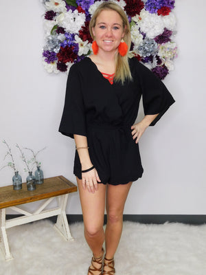 You Make Me Smile Scalloped Short Romper with Waist Tie