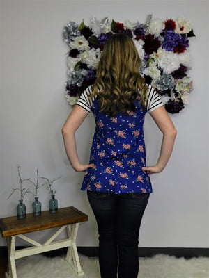 Sunny Days Floral Striped Sleeve Top