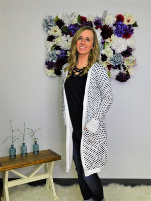 Gonna Love It Polka Dot Cardigan - White