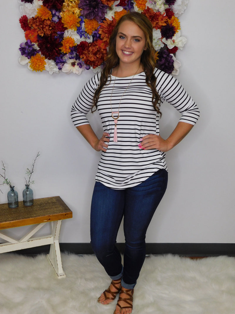 Show Me Off Striped 3/4 Sleeve Top - White/Black