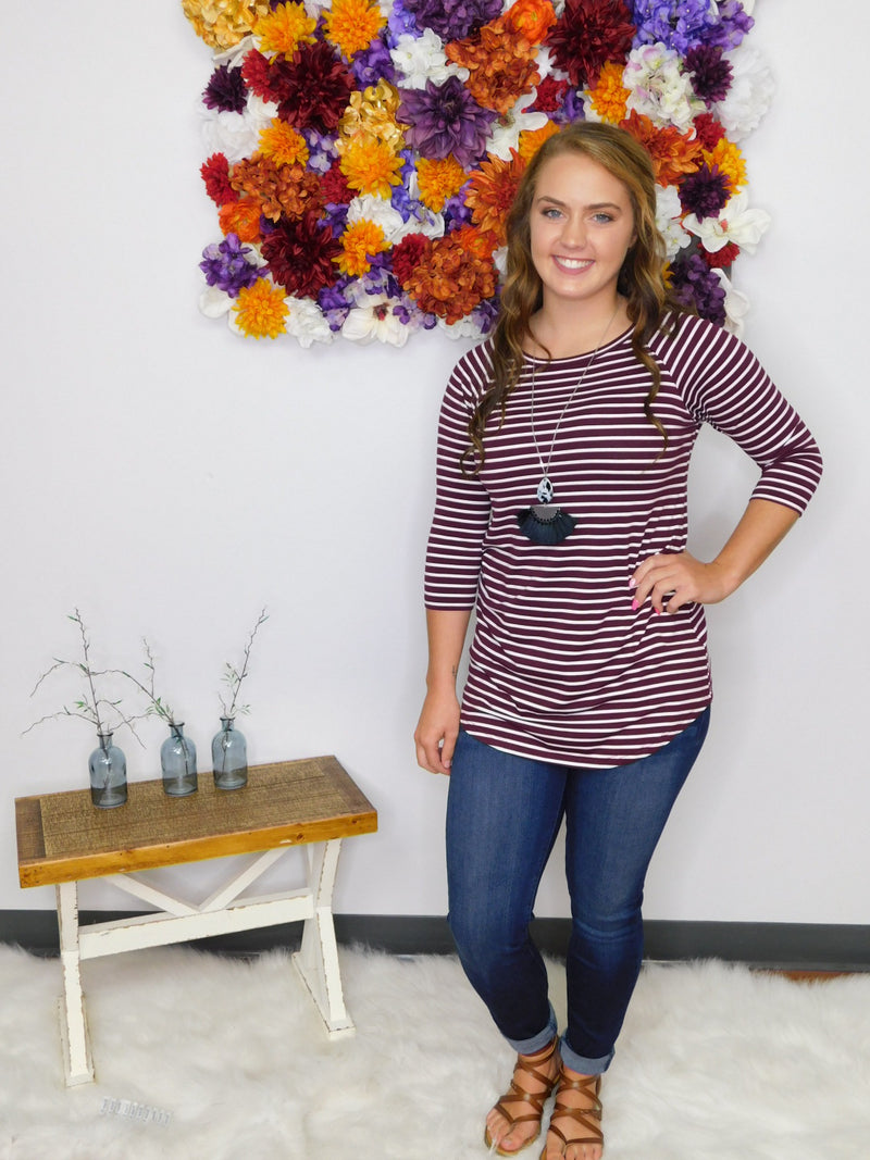 Show Me Off Striped 3/4 Sleeve Top - Wine/White