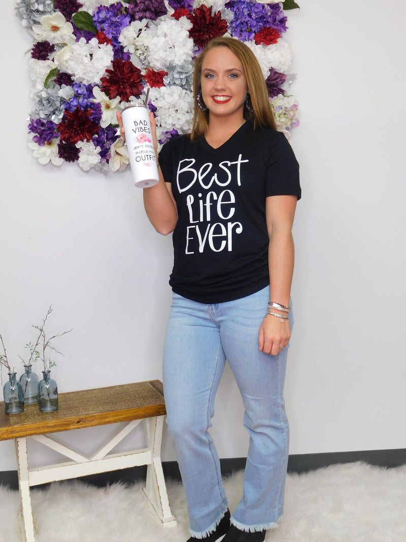 Best Life Ever V-Neck Graphic Tee