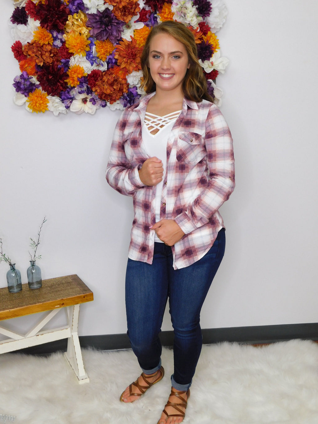 Let's Go Girls Plaid Button Up Top - Ivory/Burgundy