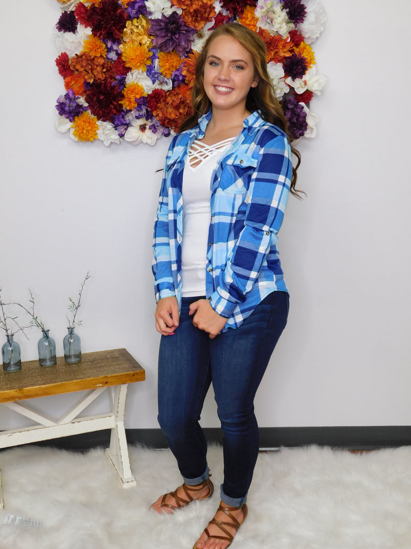 Let's Go Girls Plaid Button Up Top - Light Blue/Navy
