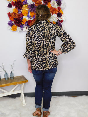 Play The Part Leopard Print Mock Neck Top