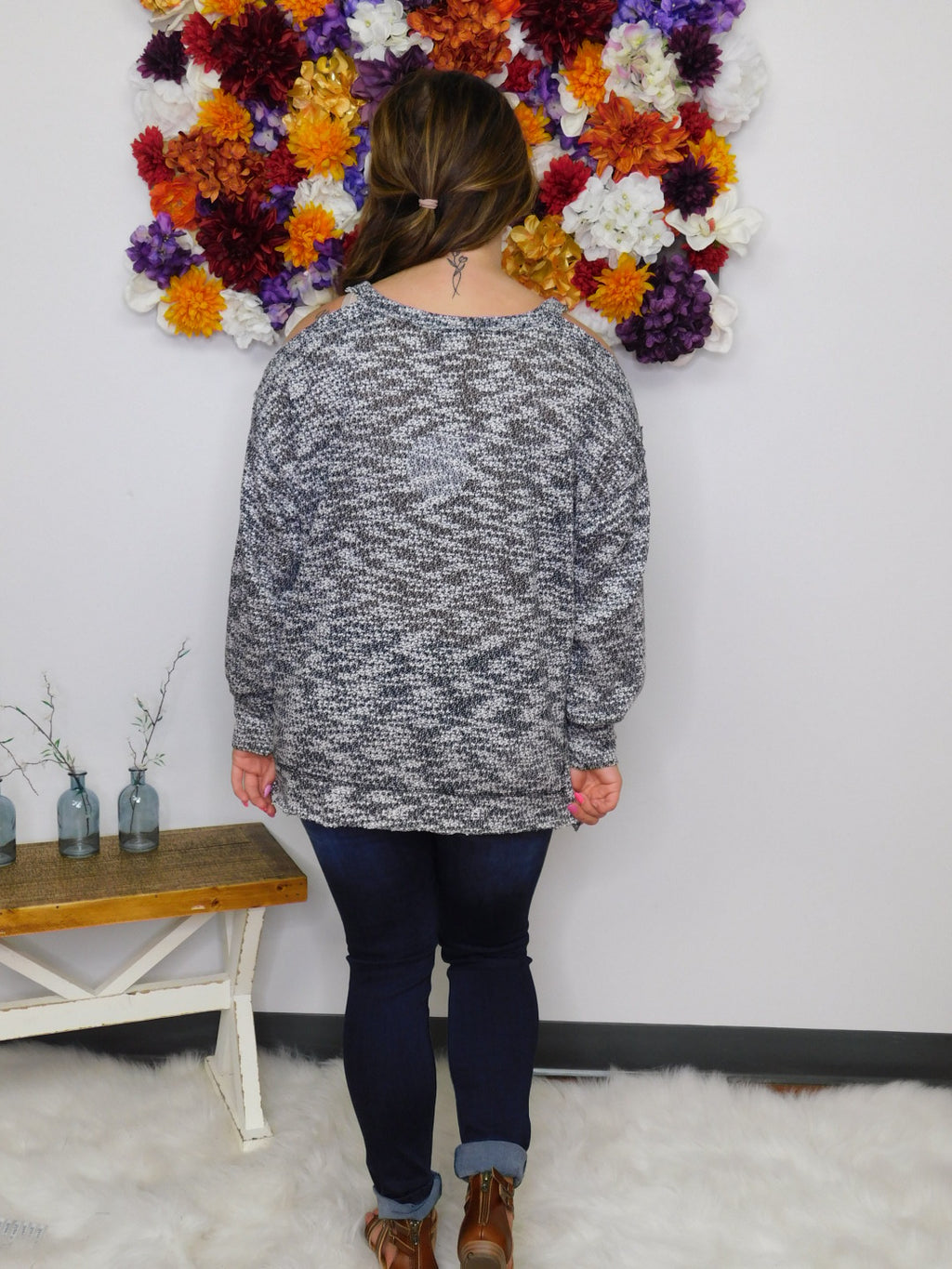 Born Leader Marbled Knit Open Shoulder Sweater