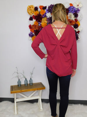 Destined For Success Long Sleeve Back Knot Cutout Top