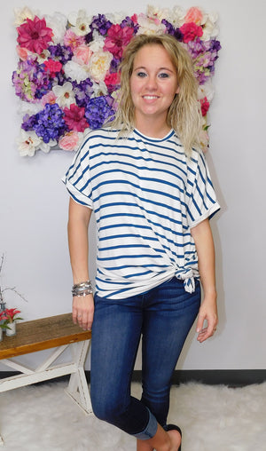 In The Moment Oversized Striped Tunic Top