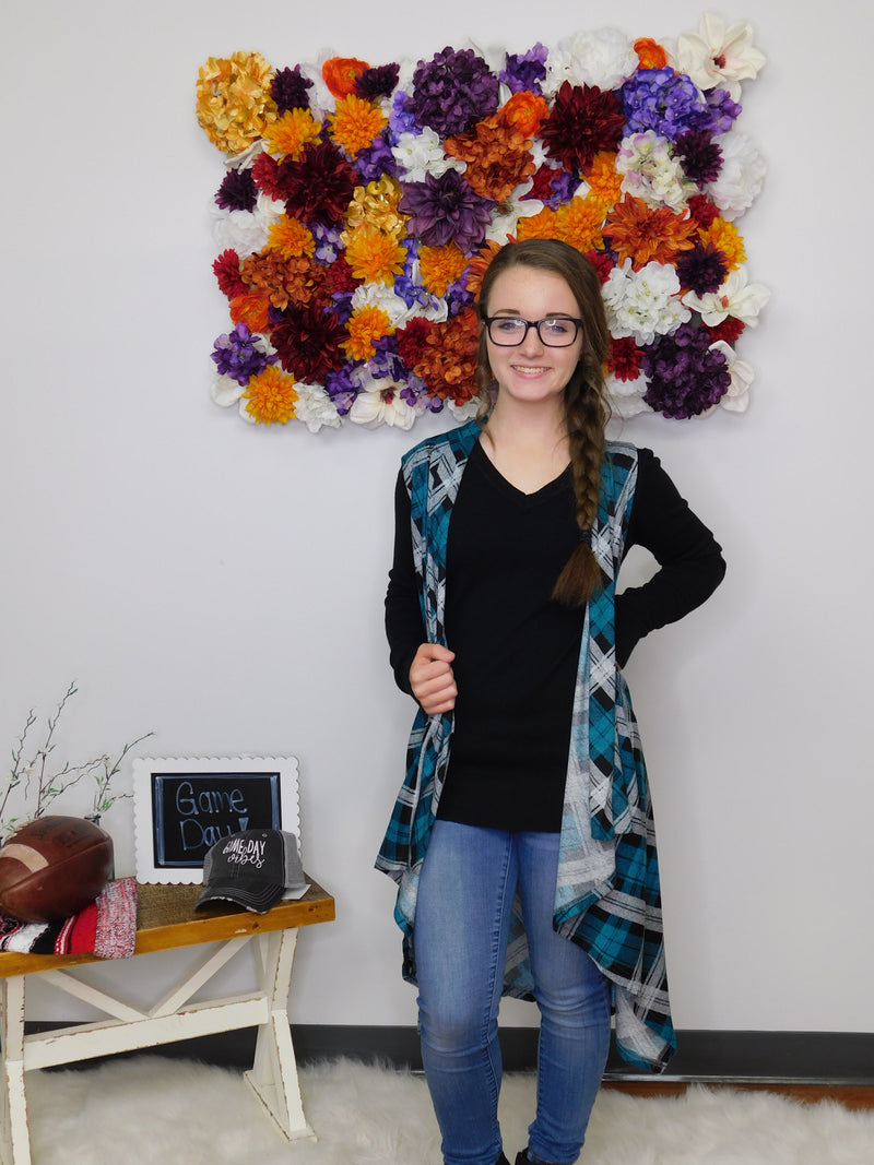 All Fired Up Plaid Open Front Vest - Final Sale