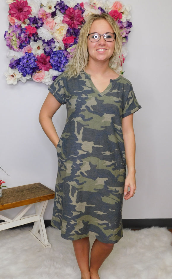 Lets Go On An Adventure Camo T-Shirt Dress