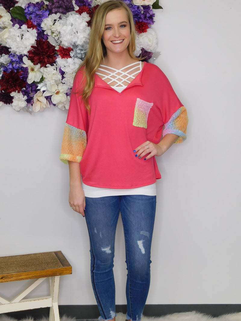 Vacation Time Booclay Sleeve Chest Pocket Detail Top