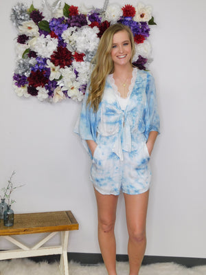 Toes In The Water Tie Dye Front Tie Romper