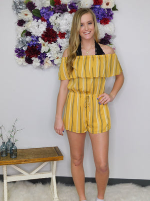 Show Me The Sunshine Striped Ruffled Romper