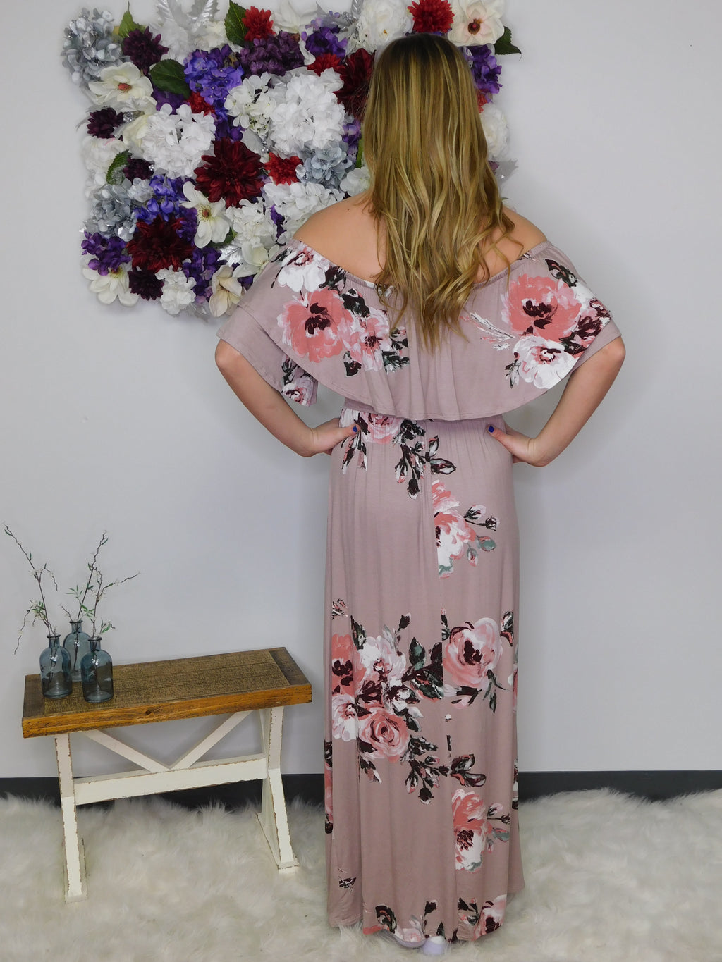 Go With The Flow Off Shoulder Maxi Dress - Mauve