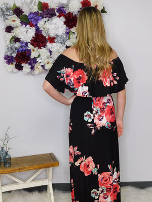 Go With The Flow Off Shoulder Maxi Dress - Black