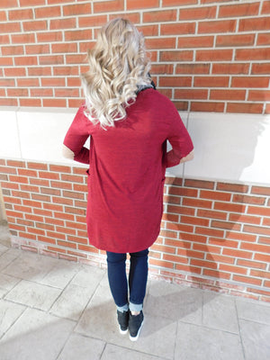 Give It All You've Got Open Elbow Patch Cardigan