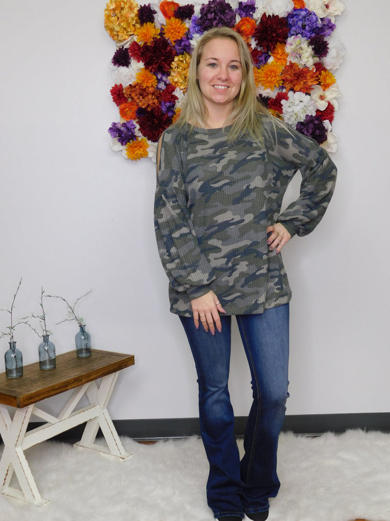 Love Me Some Camo Cold Shoulder Bubble Sleeve Top