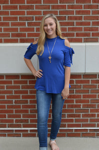 Endless Blue Cold Shoulder 1/2 Sleeve Tie Detail Top - FINAL SALE CLEARANCE