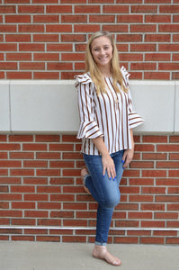 Lucky Striped and Ruffle Shoulder Top