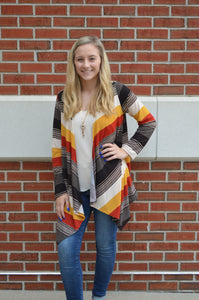 Color Me Striped Asymmetrical Cardigan